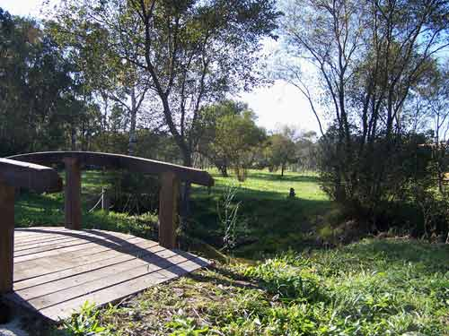 Puente de madera en el Área Recreativa de As Pedreiras